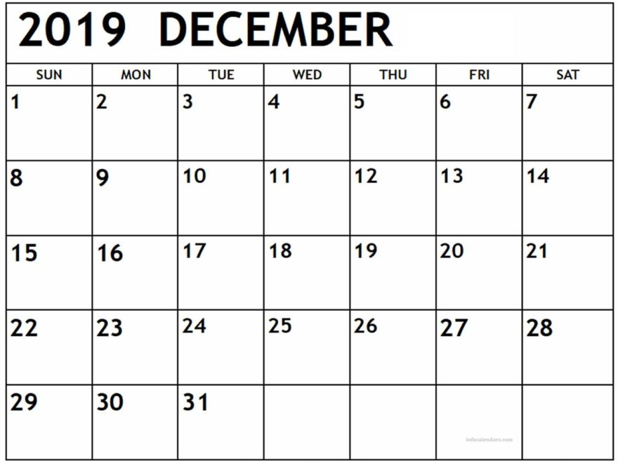 December 2019 Printable Calendar With Notes