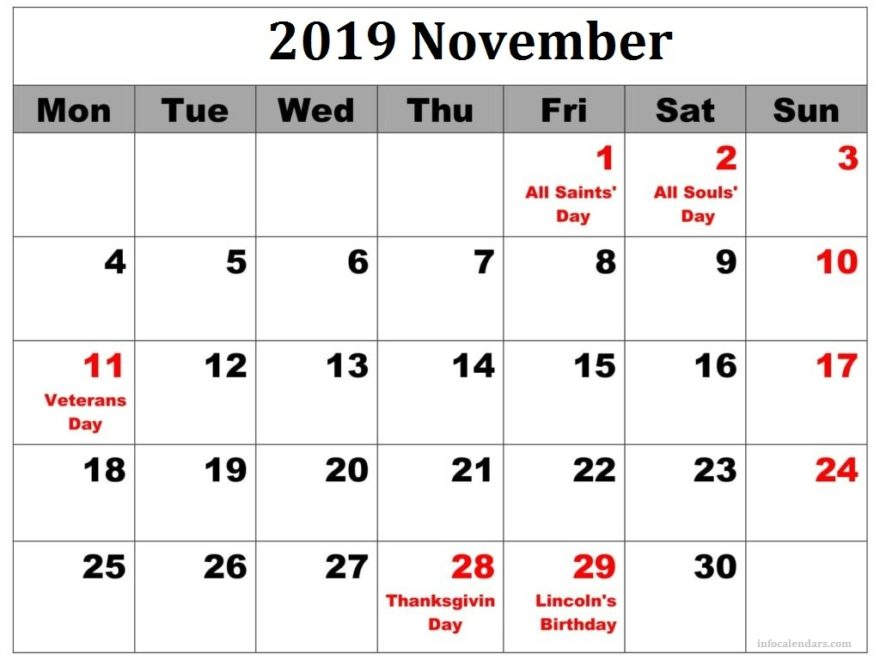 photograph relating to Printable Calendar November named November 2019 Printable Calendar With Season Slots