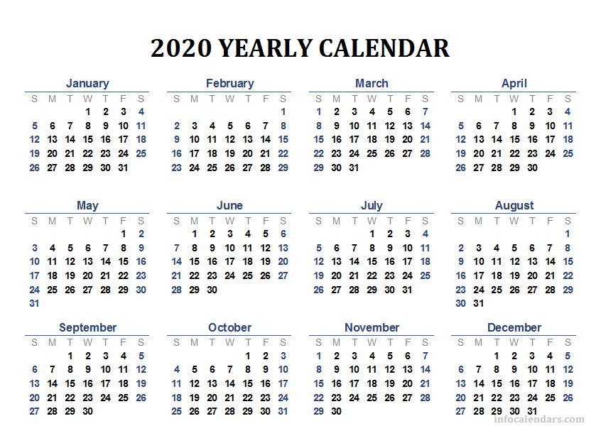 Printable Yearly Calendar 2020.Printable 2020 Calendar For Your Yearly Trip Infocalendars Com