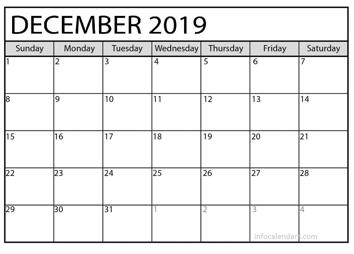 Calendar December 2019 Printable For Kids