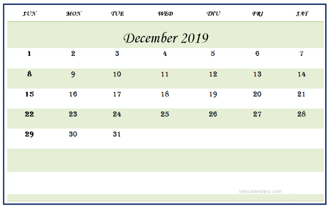 Calendar December 2019 Printable Portrait