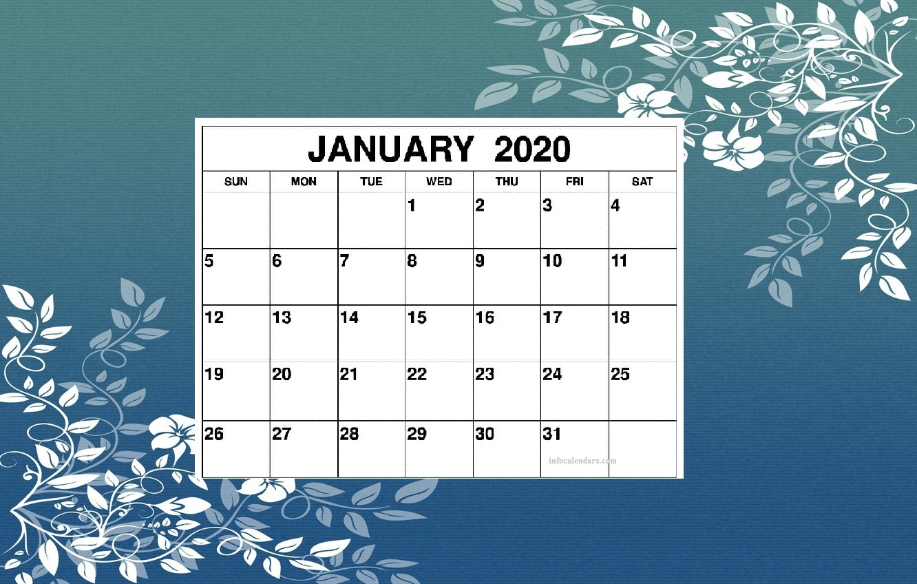 Cute January 2020 Calendar With Holidays