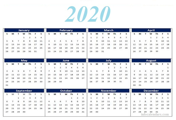 Yearly 2020 calendar For Kids