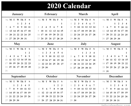 Yearly 2020 calendar Lunar
