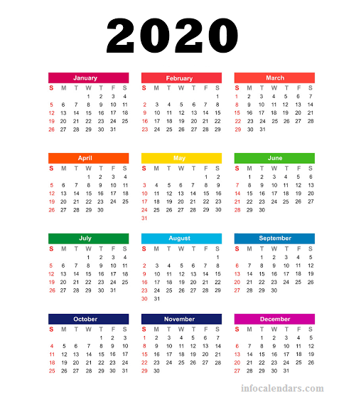 Yearly 2020 calendar School