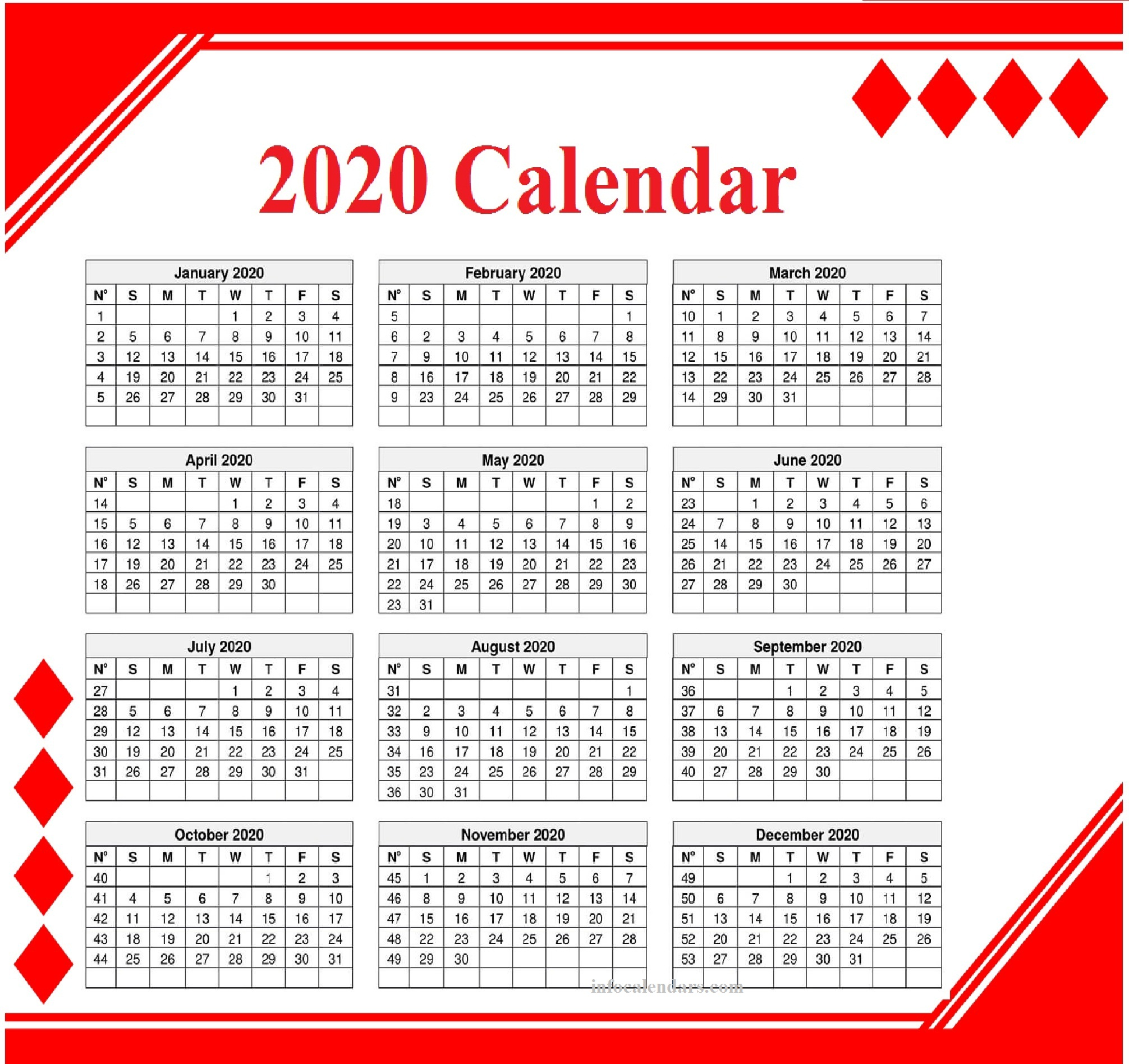 2020 Monthly Template Download