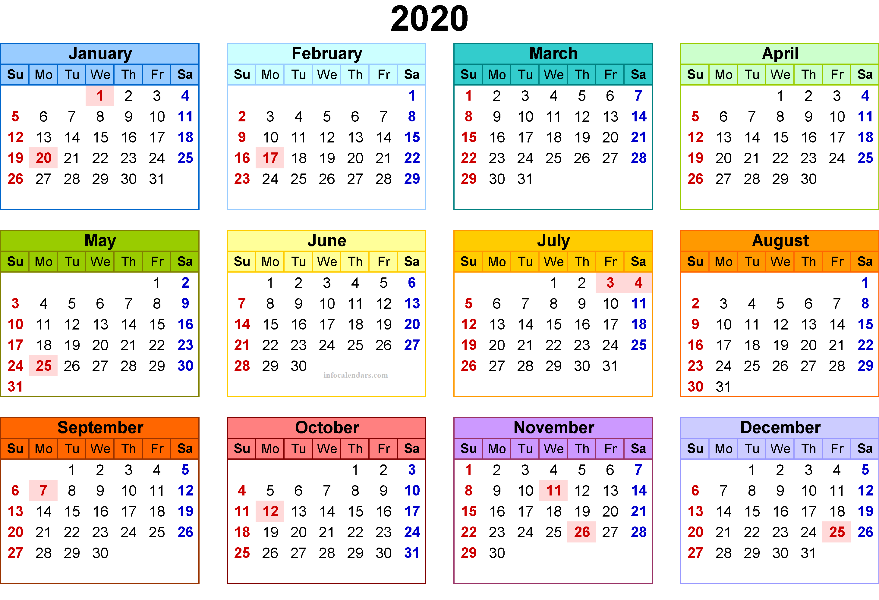 2020 Monthly Template For Kids