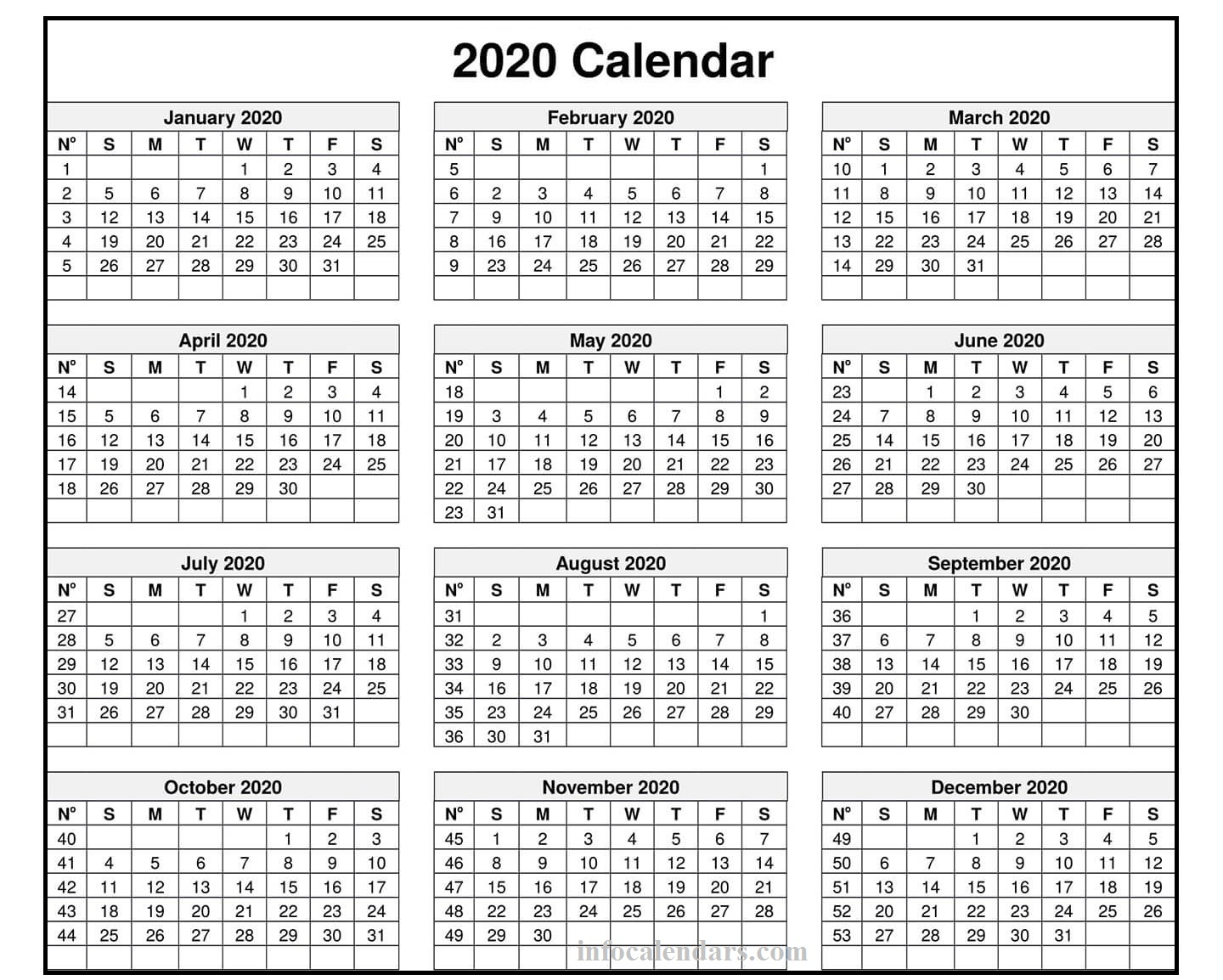 2020 Monthly Template PDF