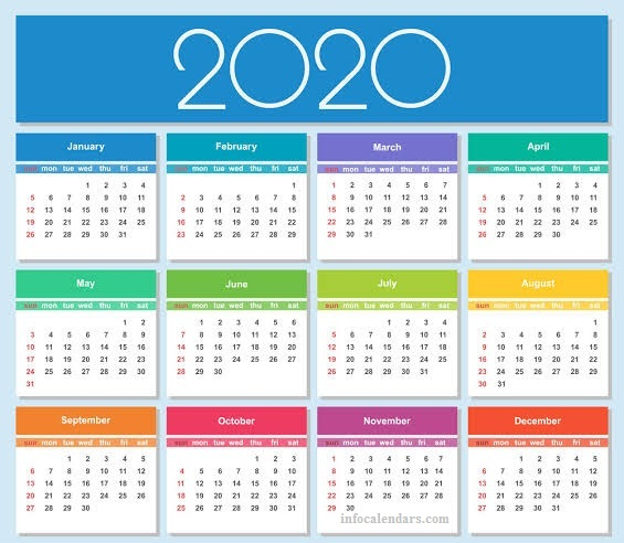 2020 Monthly Template Print