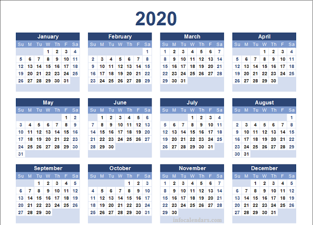 2020 Monthly Template