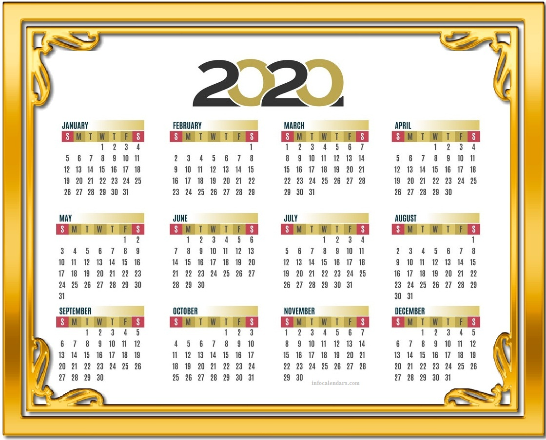 2020 Quarterly Calendar Layout