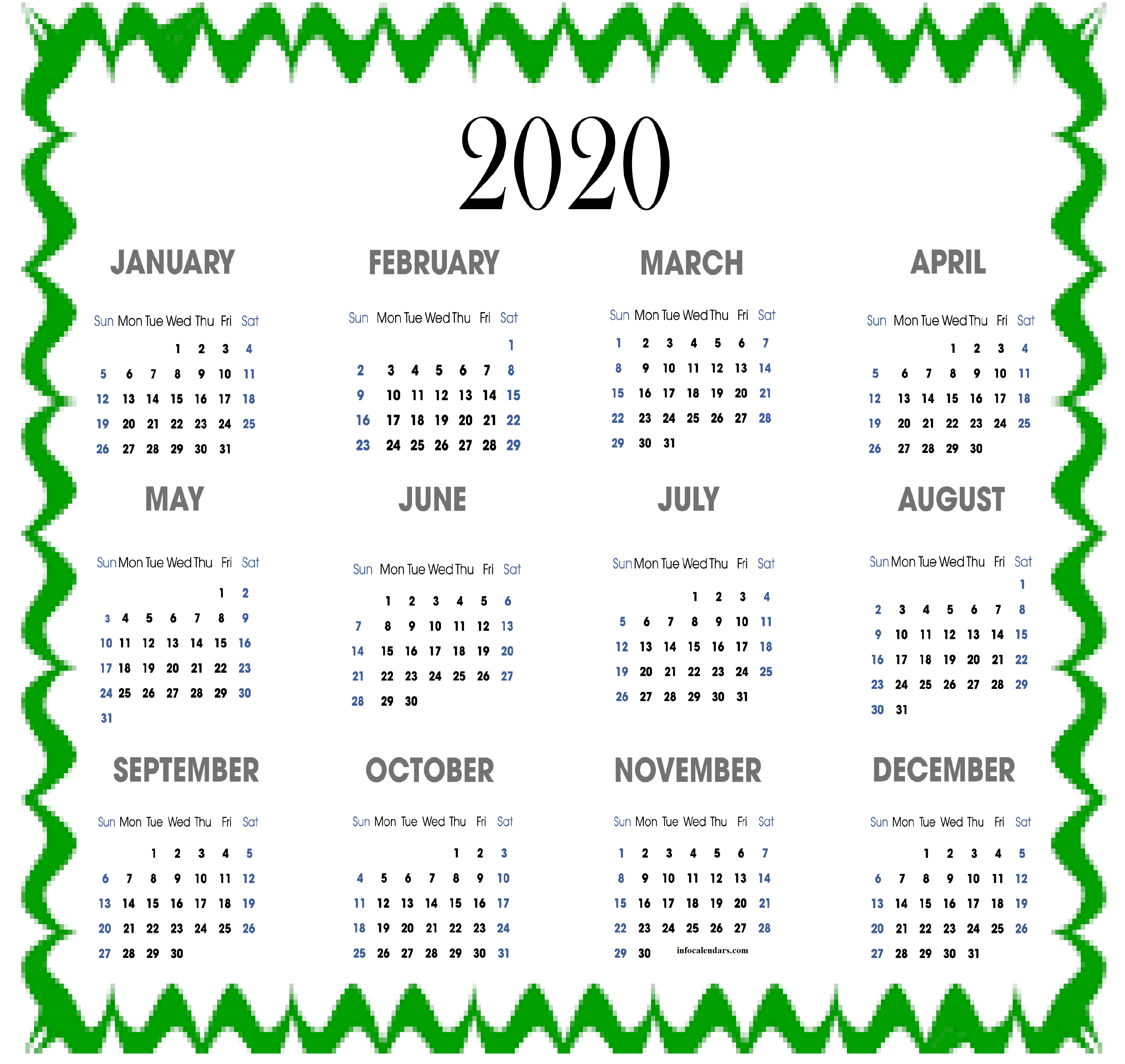 2020 Quarterly Calendar Lunar