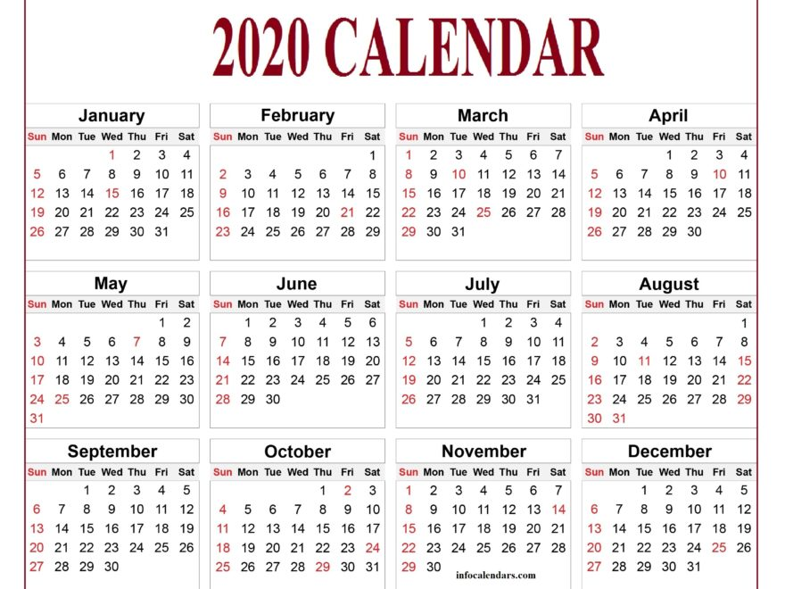 Blank Calendar 2020 Download