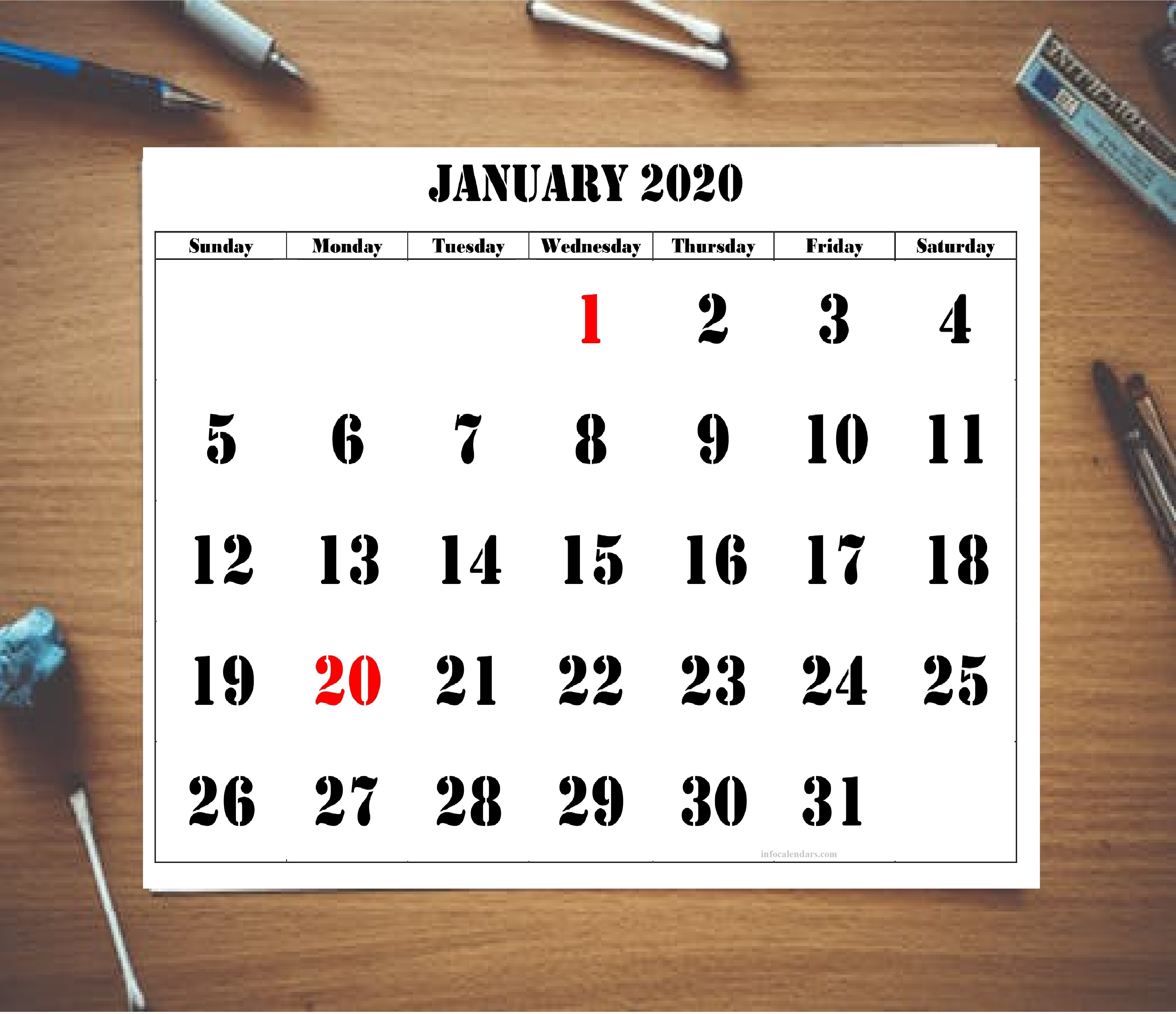 Blank January 2020 Calendar For Kids