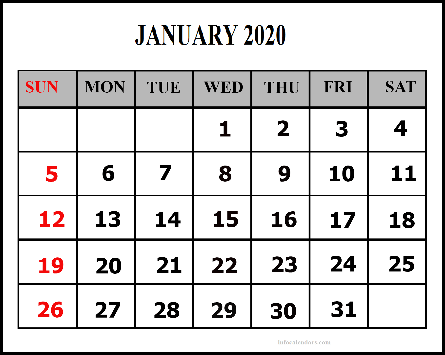 Blank January 2020 Calendar With Holidays