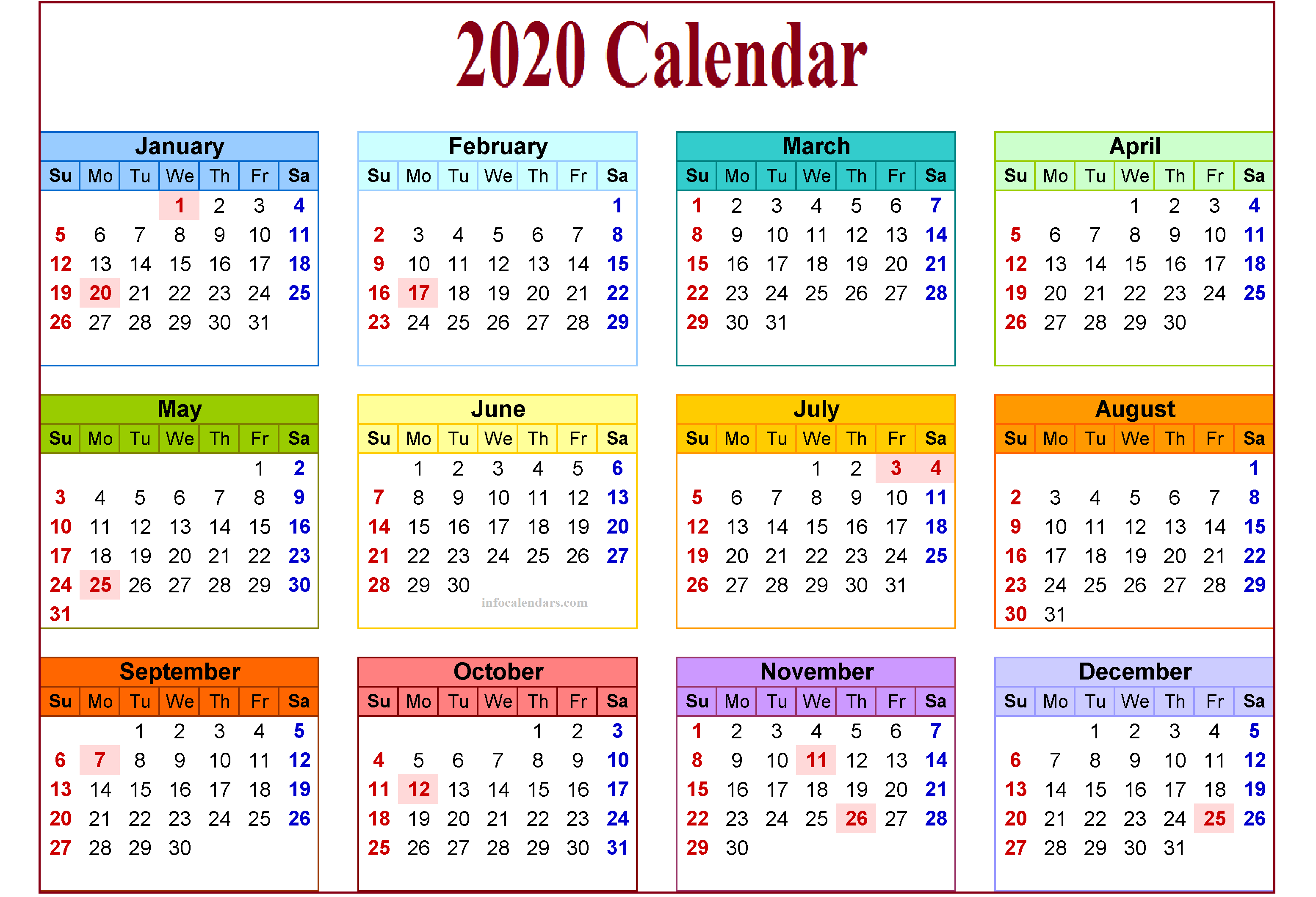 Cute 2020 Monthly Template