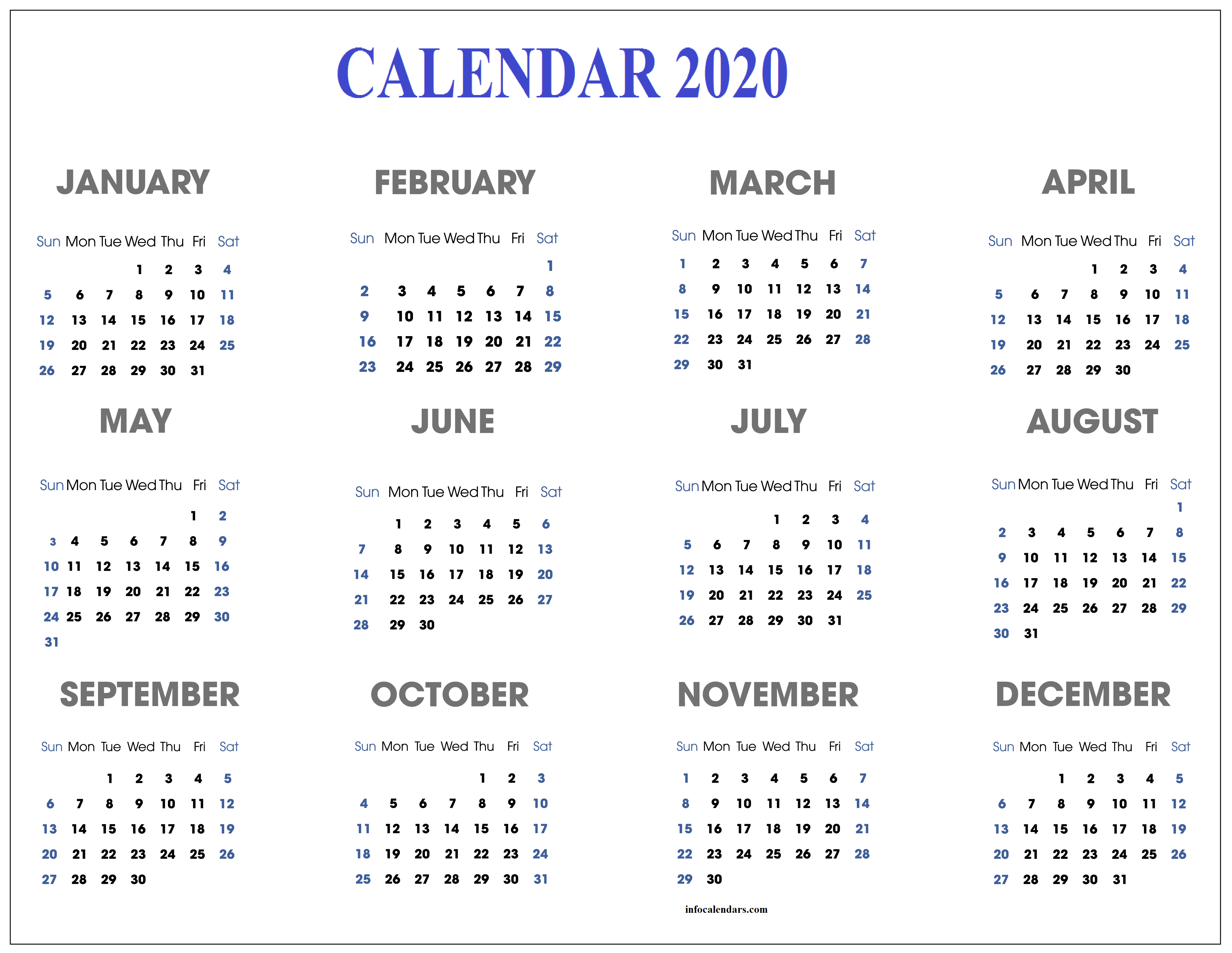 Daily 2020 Calendar For School