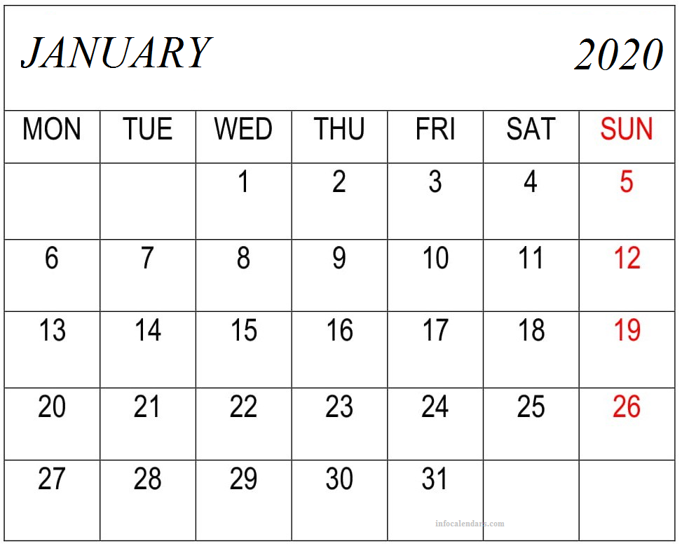 Free January 2020 Calendar With Holidays