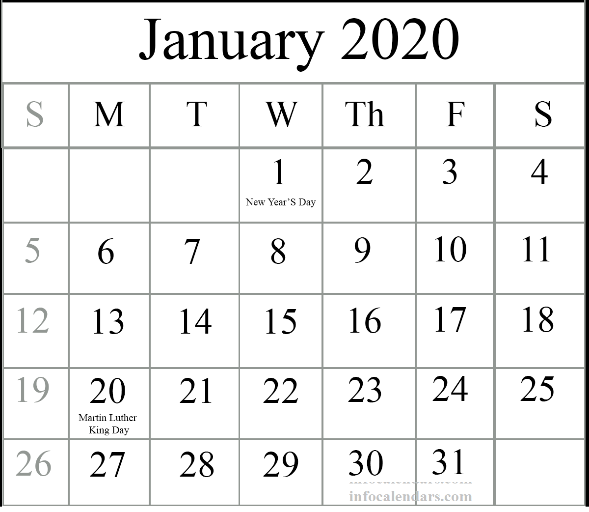 January 2020 Calendar With Holidays For School