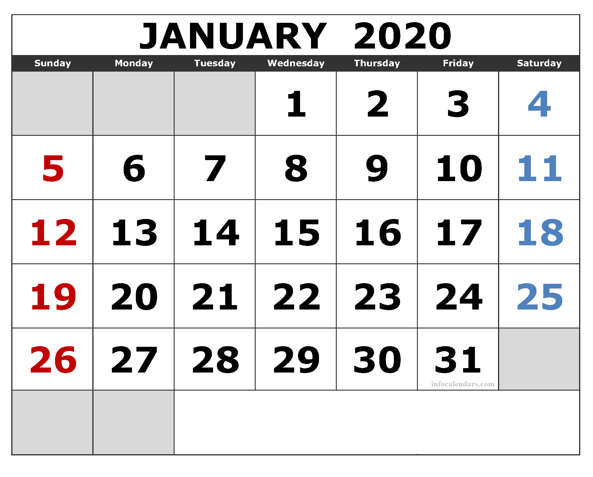 January 2020 Calendar With Holidays PDF