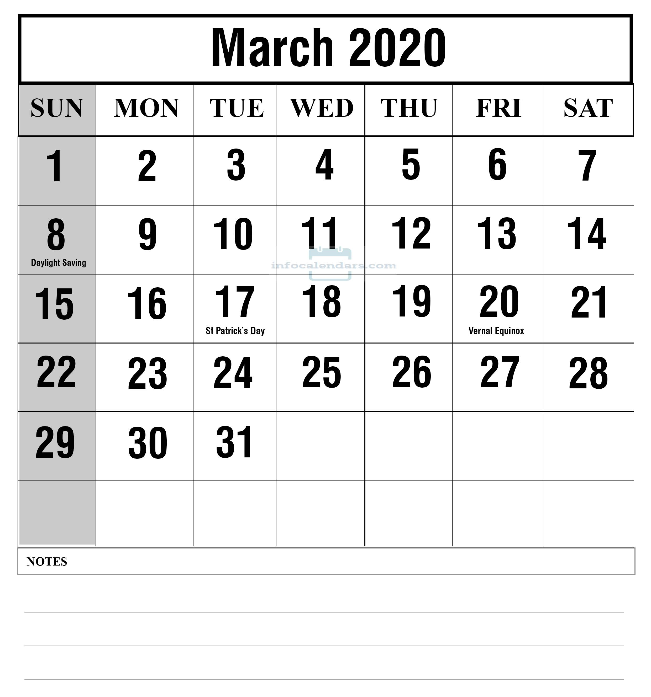 2020 March Calendar With Holidays