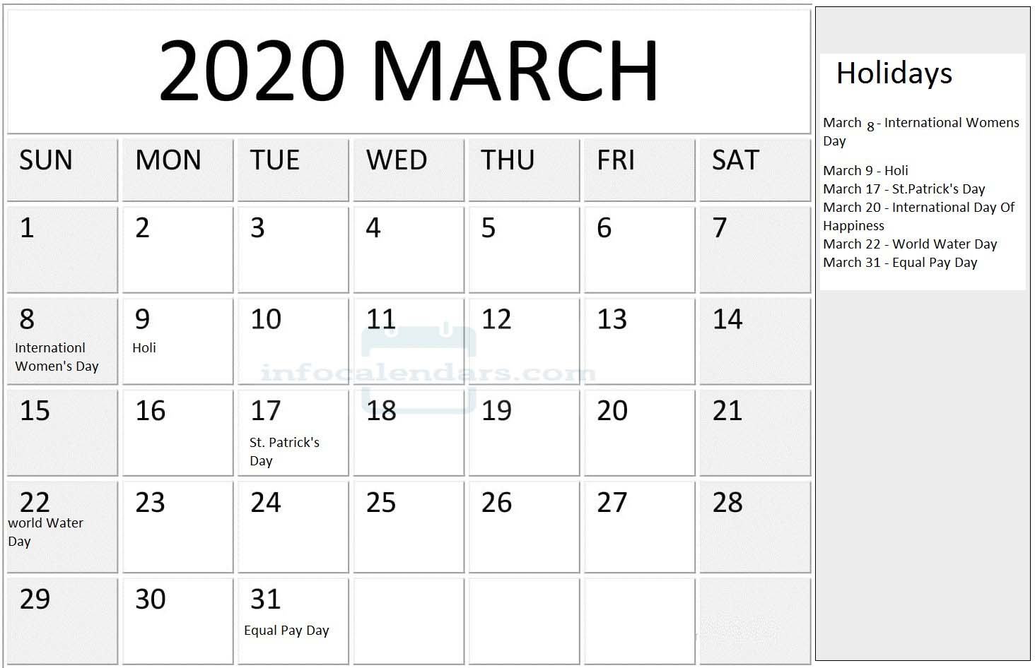 March 2020 Calendar With Holidays Notes