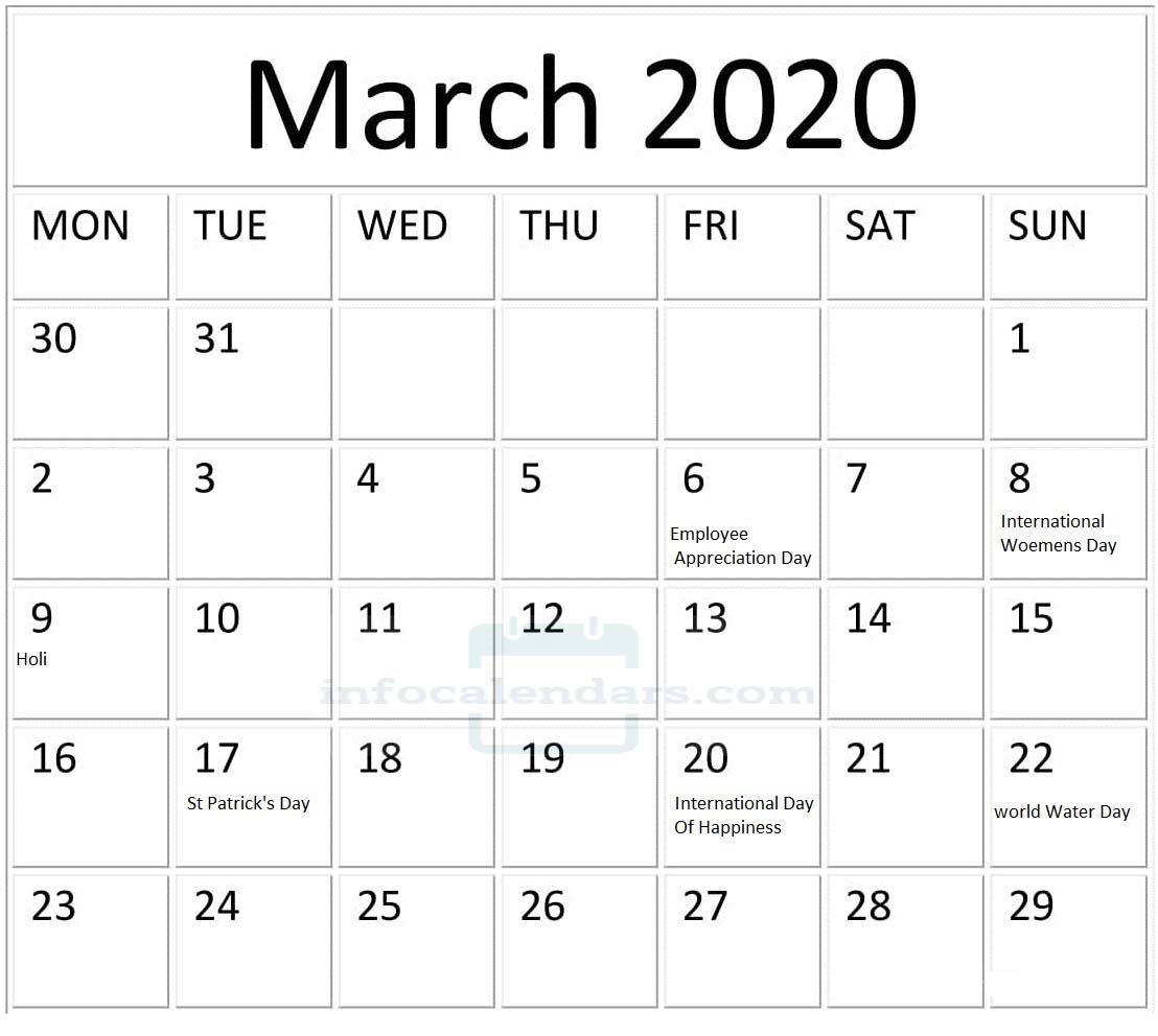March 2020 Calendar With Holidays PDF