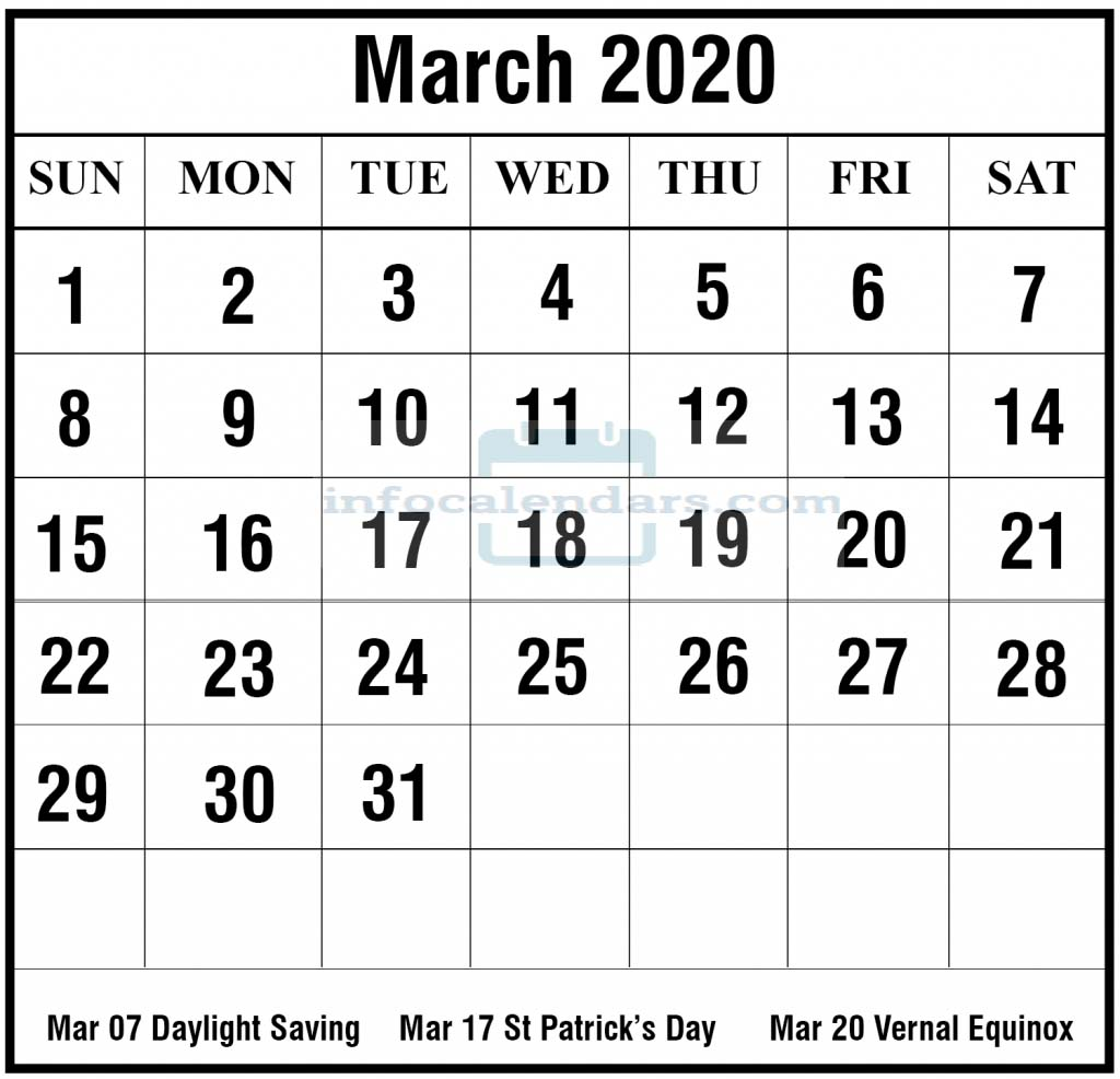 March 2020 Calendar With Holidays Sheet