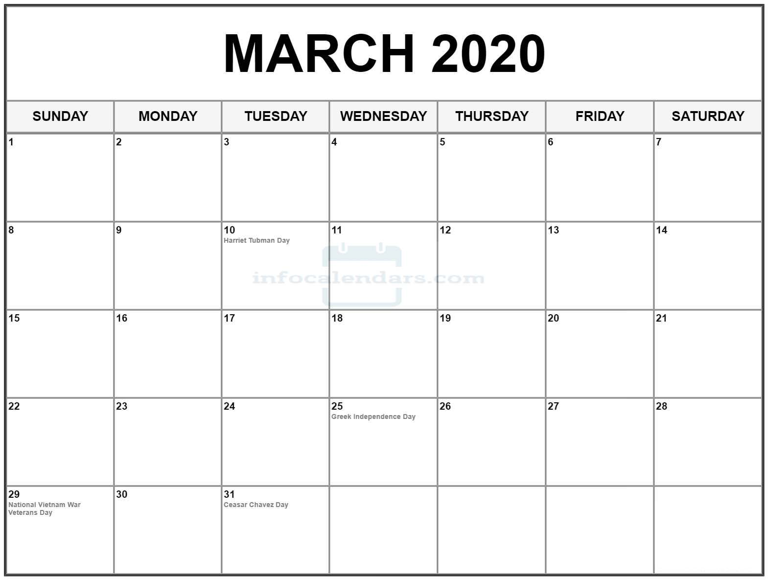 March 2020 Calendar With Holidays Wallpaper