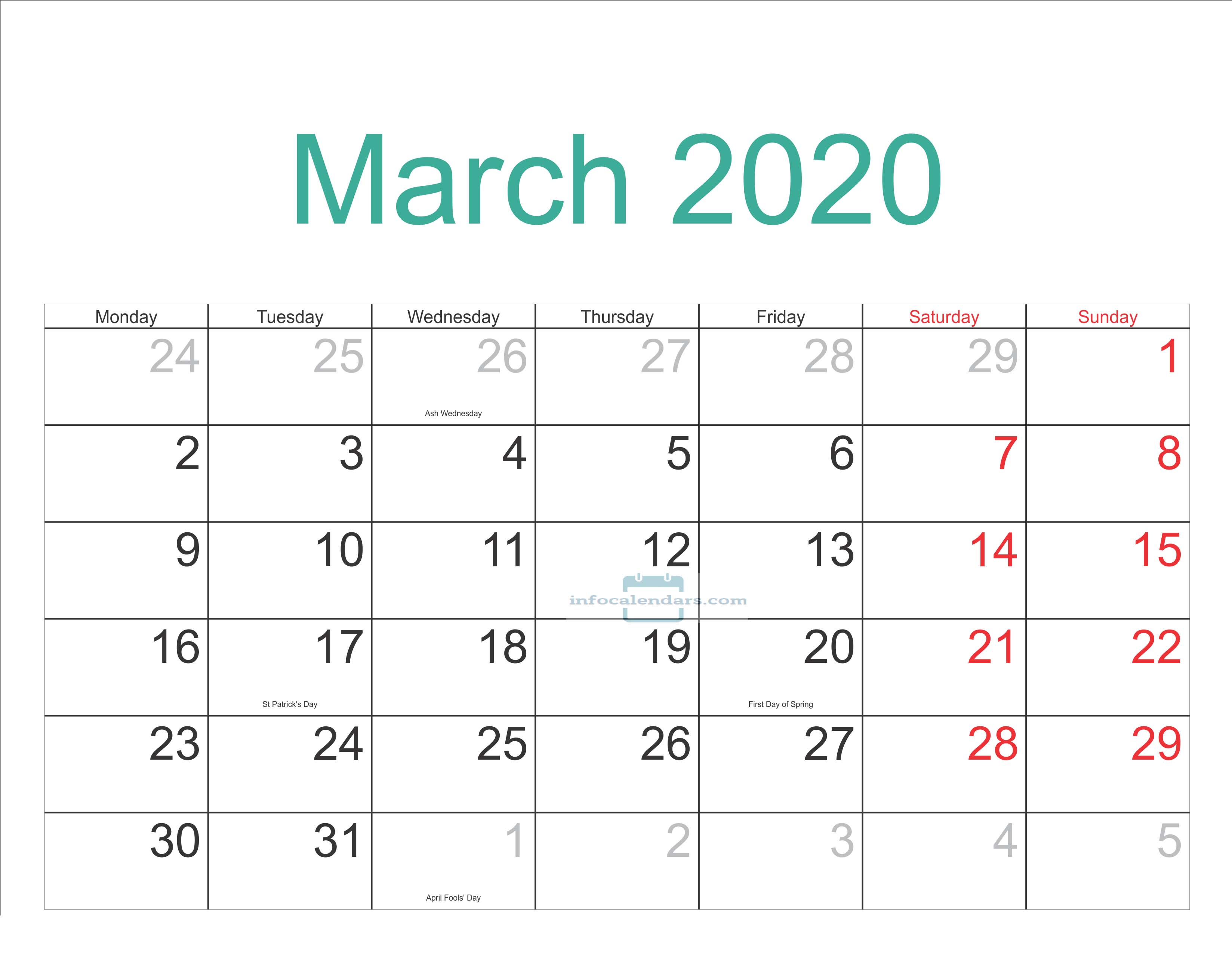 March Calendar 2020 With Holidays