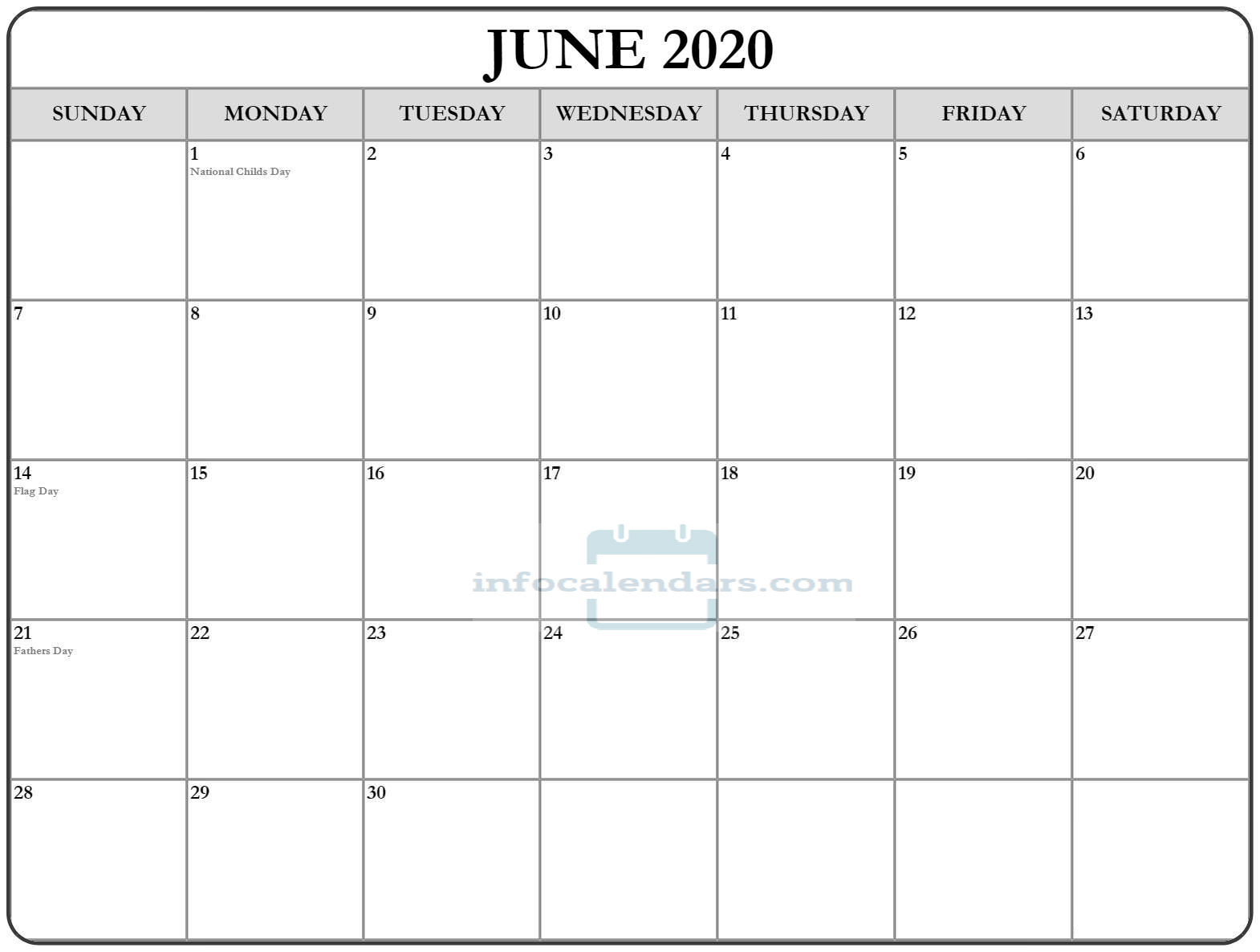 Blank June 2020 Calendar With Holidays