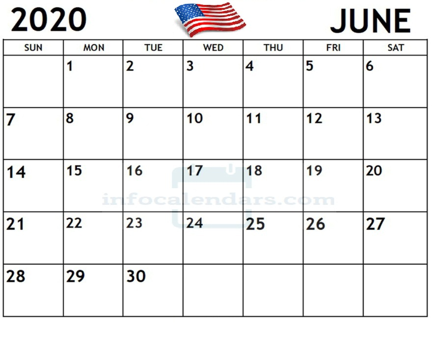 Calendar Sheet For June 2020