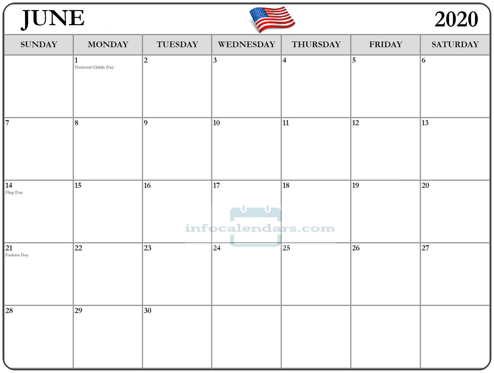 Download Calendar For June 2020