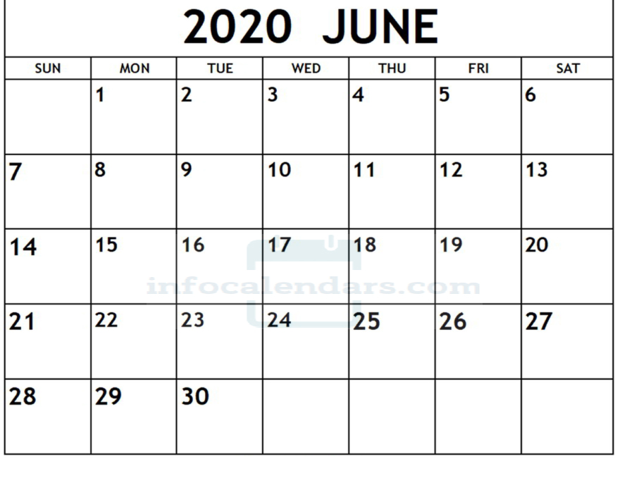 Download June 2020 Calendar With Holidays