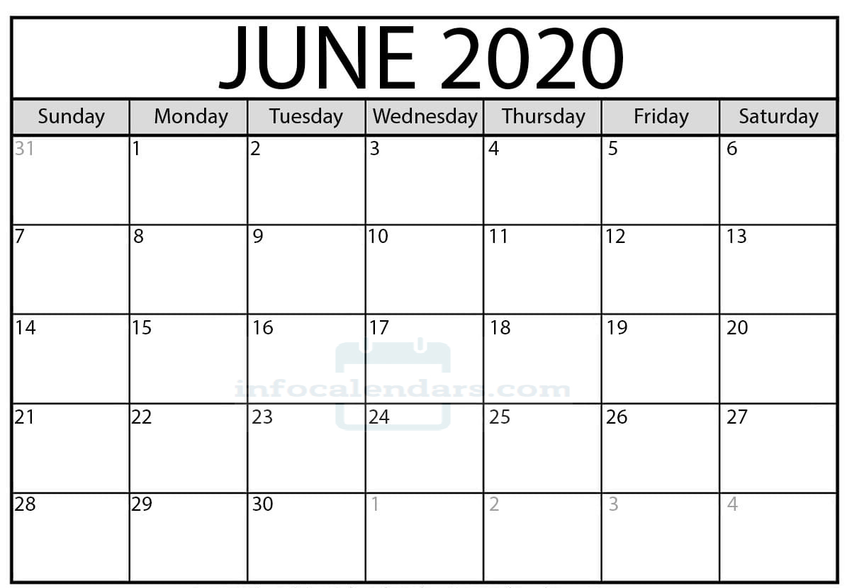 Free June 2020 Calendar With Holidays
