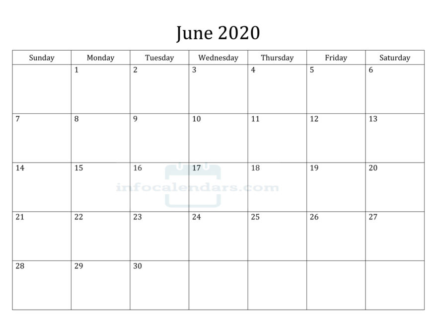 June 2020 Calendar Holidays