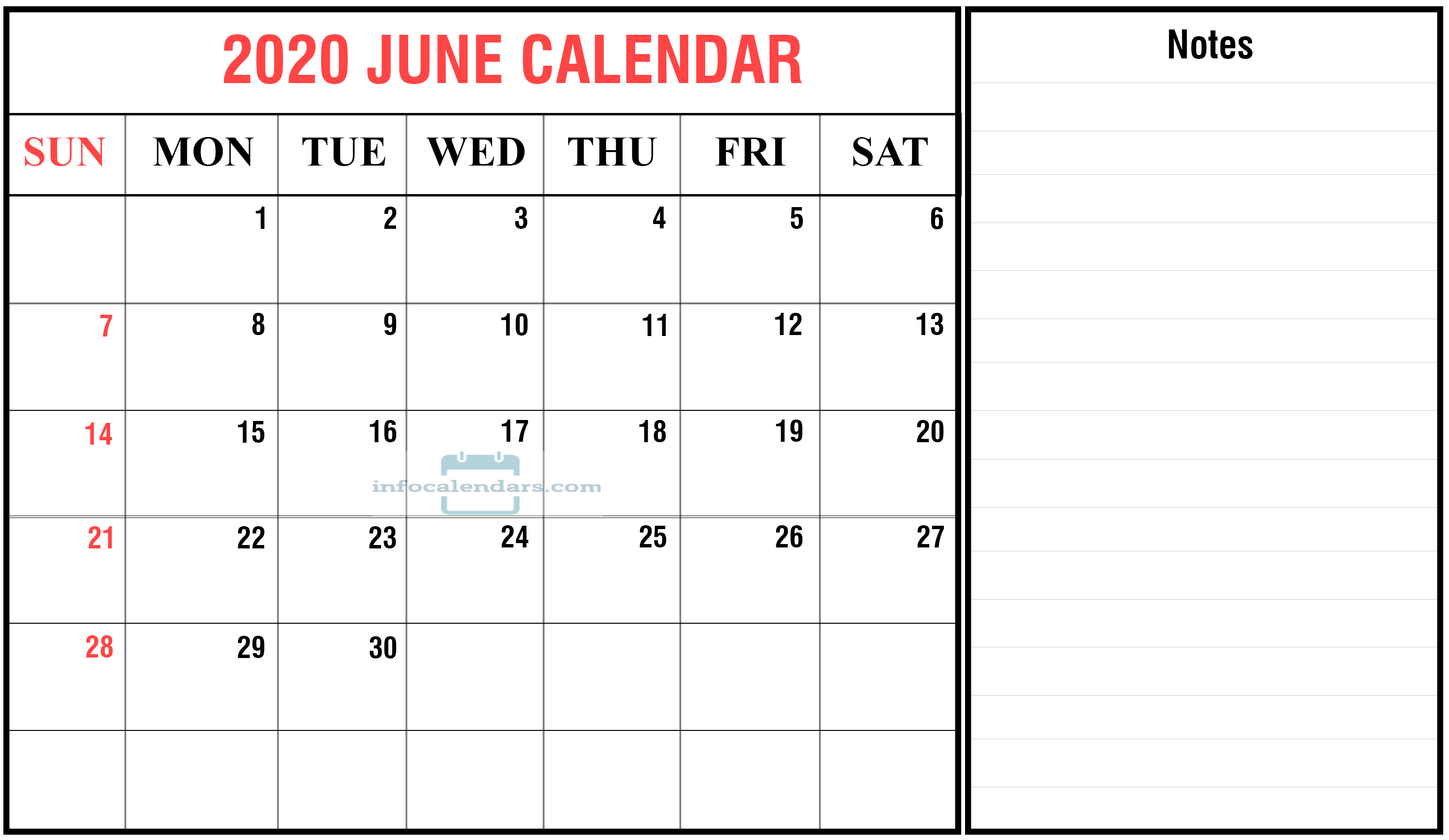 June 2020 Calendar With Holidays Download