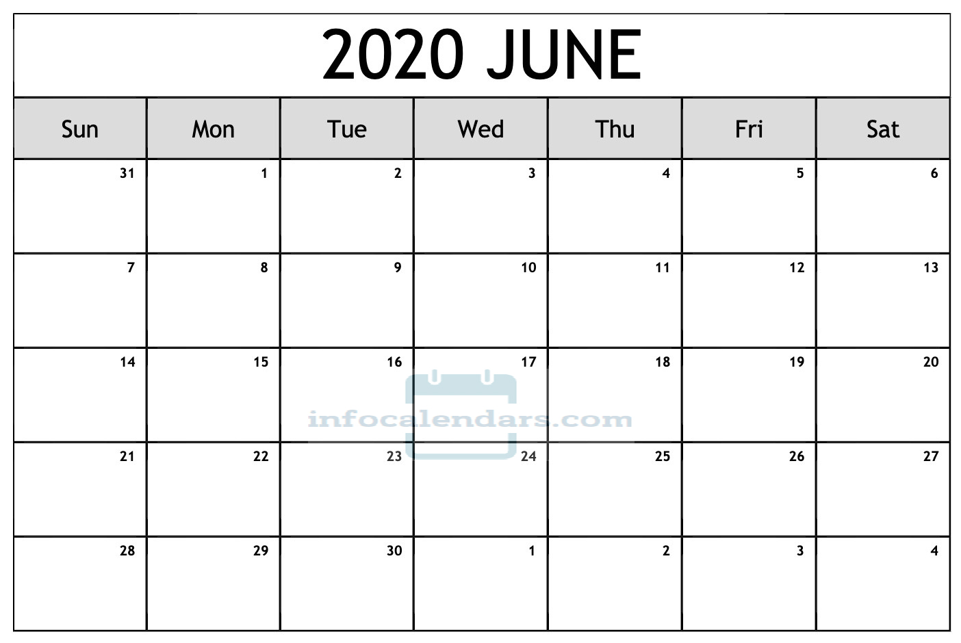 June 2020 Calendar With Holidays For School
