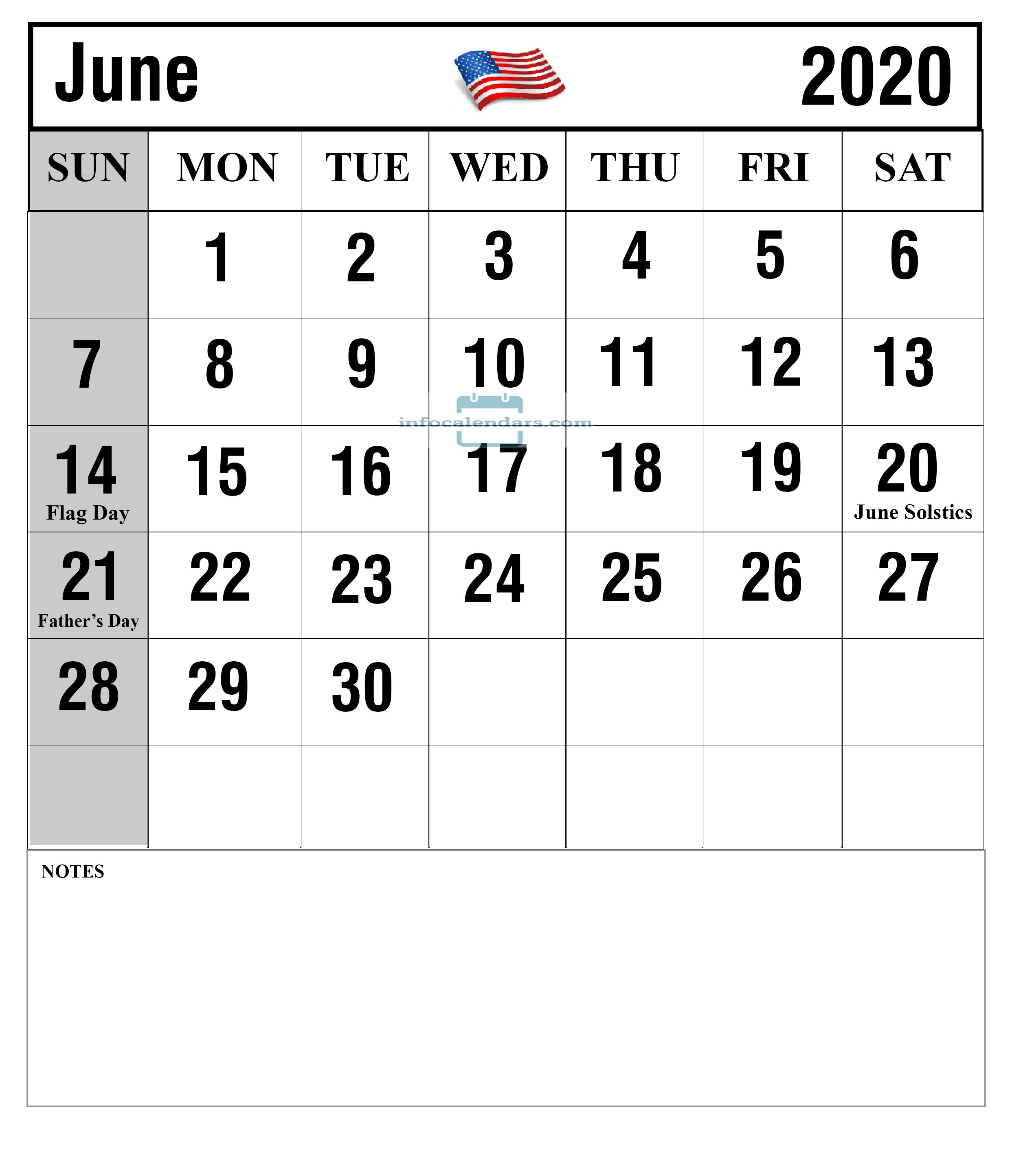 Notes Calendar For June 2020