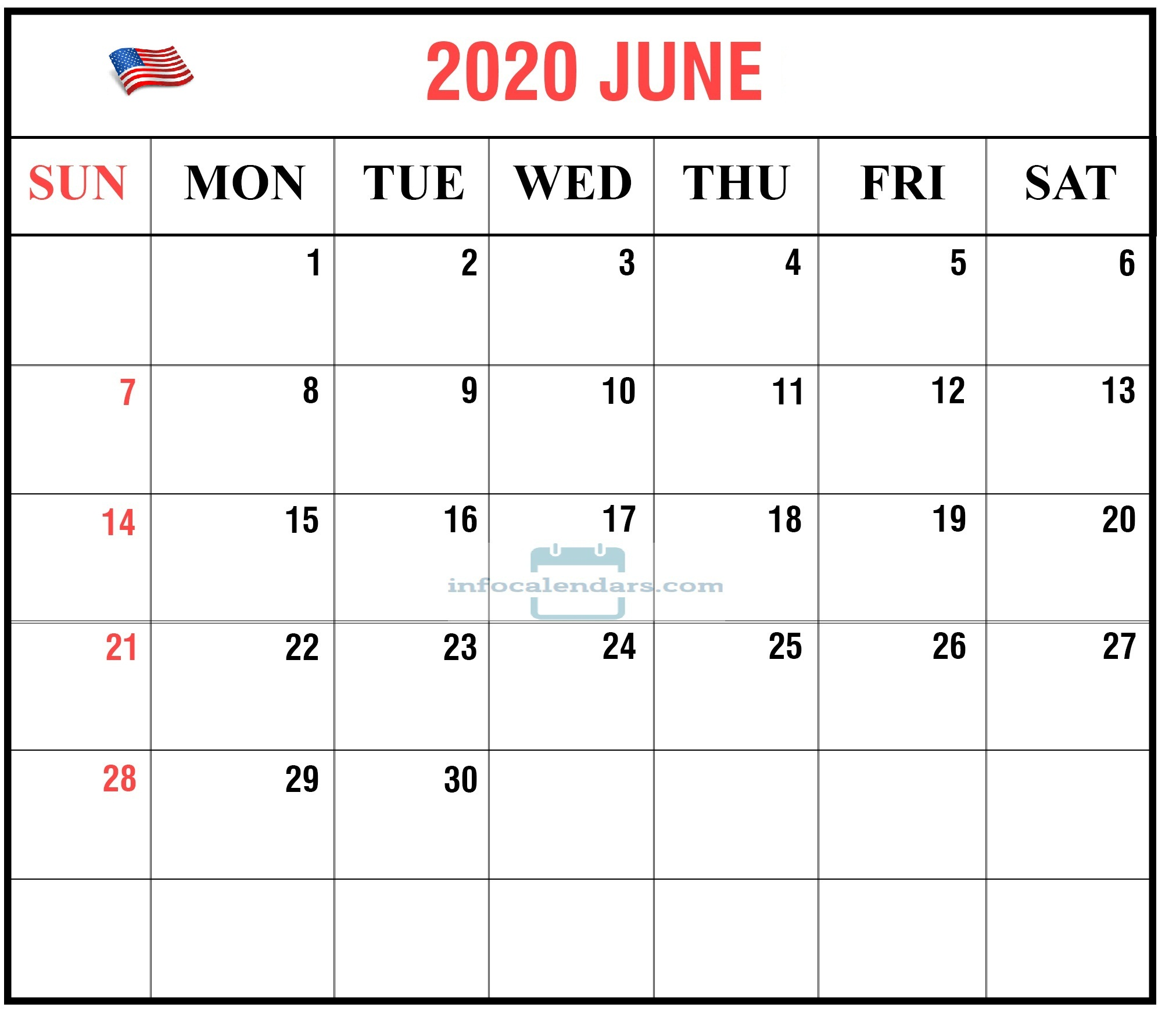 Printable Calendar For June 2020