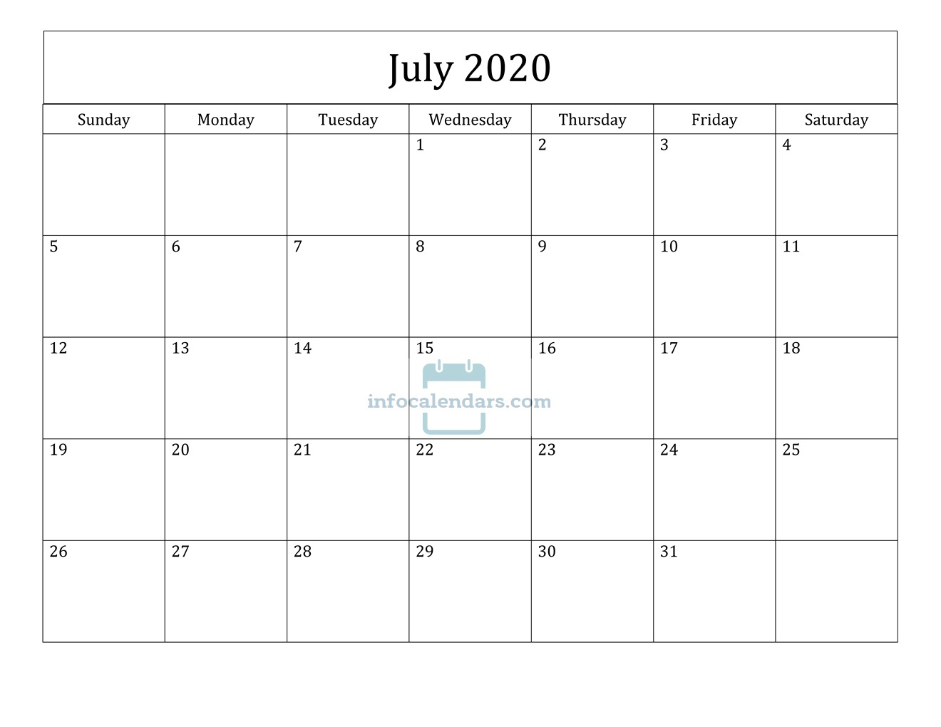Blank July 2020 Calendar Download
