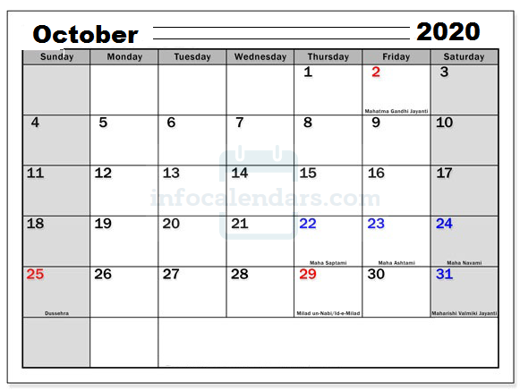 Blank October 2020 Calendar Download