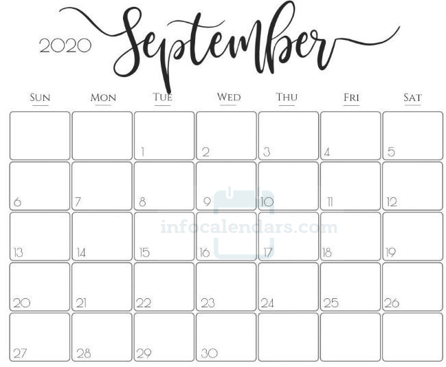 Crafty September 2020 Calendar Template