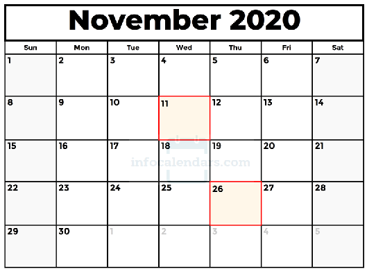 Cute November 2020 Calendar With Holidays