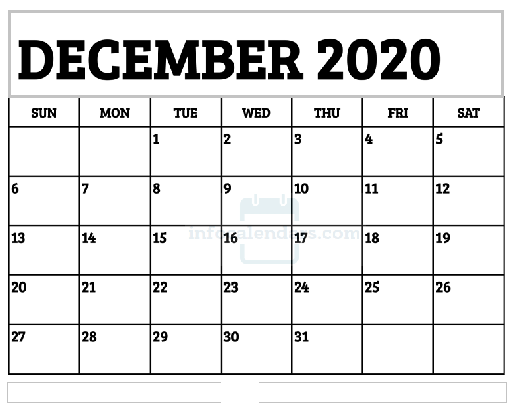 December 2020 Calendar Printable For School