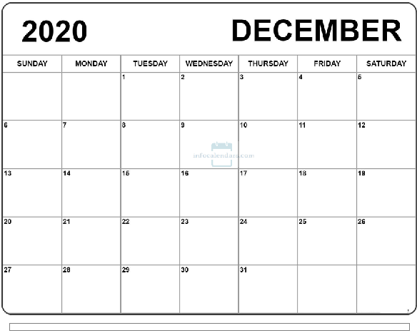 December 2020 Calendar with Holidays Notes