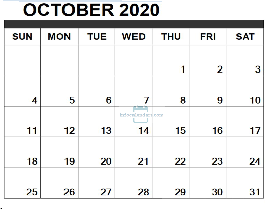 Download October 2020 Calendar PDF