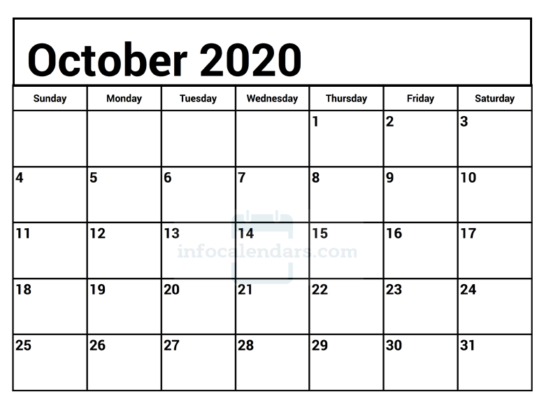 Download October 2020 Calendar With Holidays