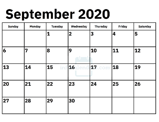 Monthly September 2020 Calendar Template