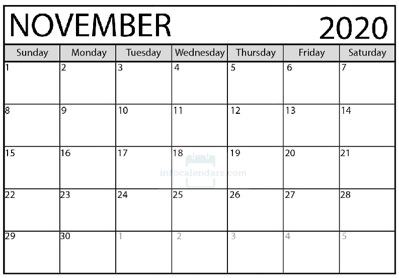 November 2020 Calendar Excel For school